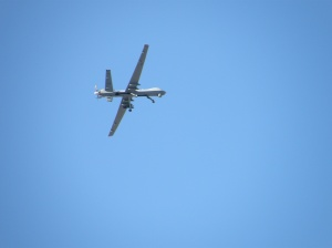 MQ-9 Reaper on practice run over vigilers during Holy Week at Creech Air Force Base, Indian Springs, NV.