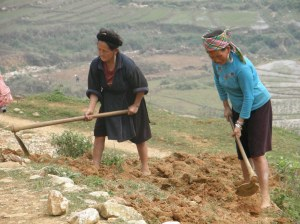 Highland people near Lai Cai in the north at the Viet Nam, China border